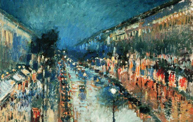 Камиль Писсарро. Бульвар Монмартр ночью. 1897 год
