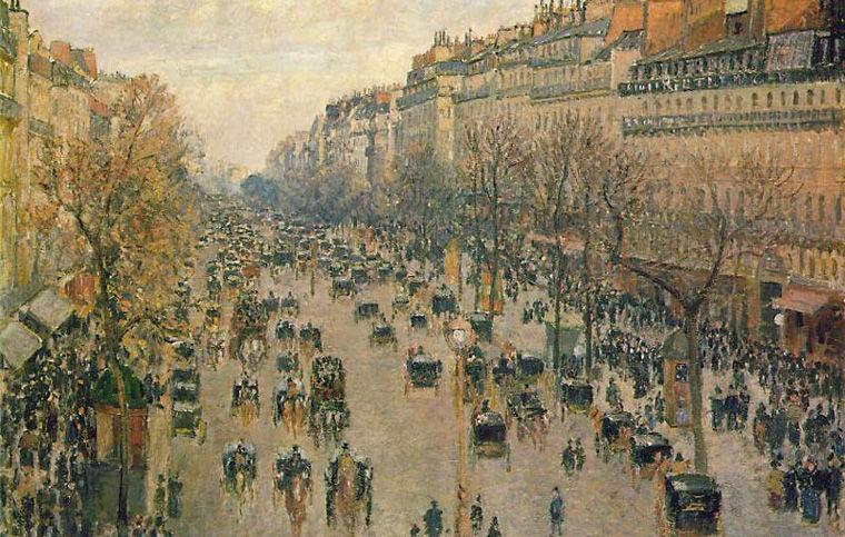 Камиль Писсарро. Бульвар Монмартр в Париже. 1987 год