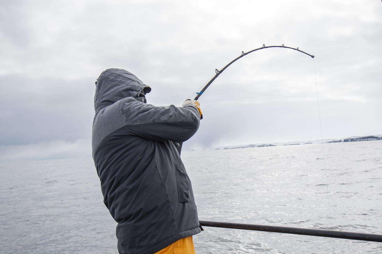 При глубине 80 метров тянуть рыбу приходится около 5 минут