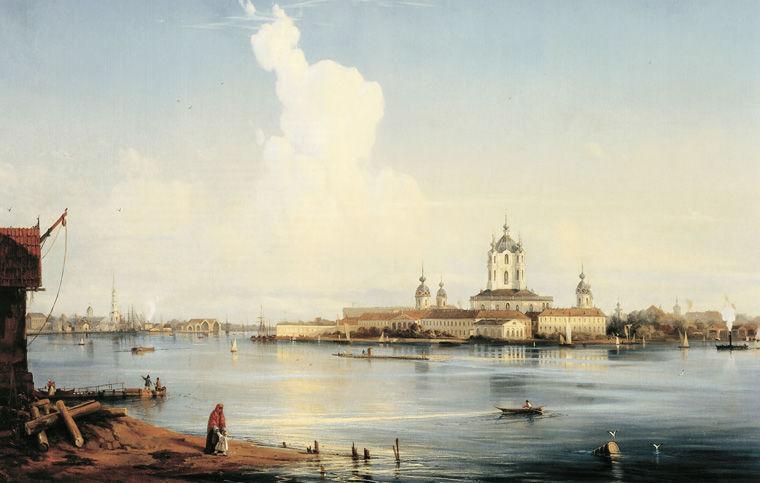 Алексей Боголюбов. Вид на Смольный монастырь с Большой Охты. 1851 год