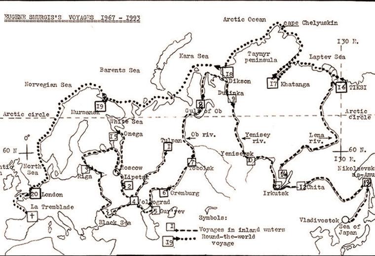 Карта маршрутов Смургиса 1967–1993 годы