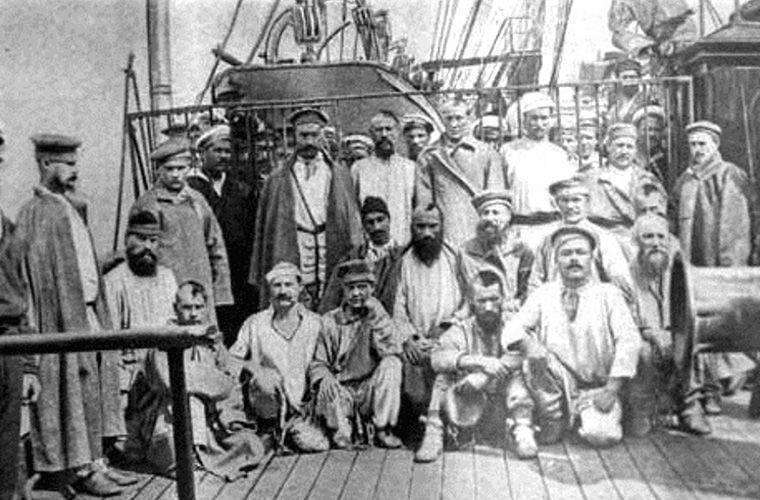 Сахалин. Арестанты на пароходе