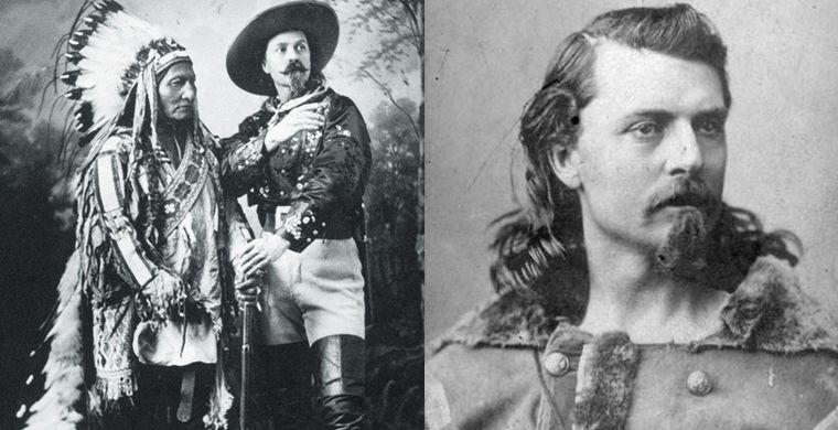 На фото слева: Буффало Билл с вождем племени сиу
