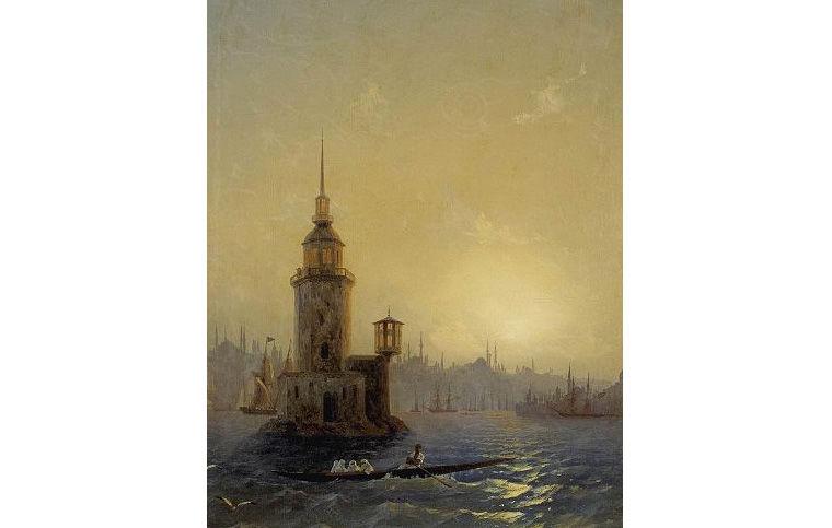 Иван Айвазовский. Вид Леандровой башни в Константинополе. 1848 год