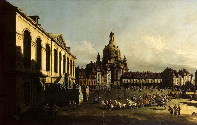 Бернардо Беллотто. Площадь Нового рынка в Дрездене. 1747 год.
