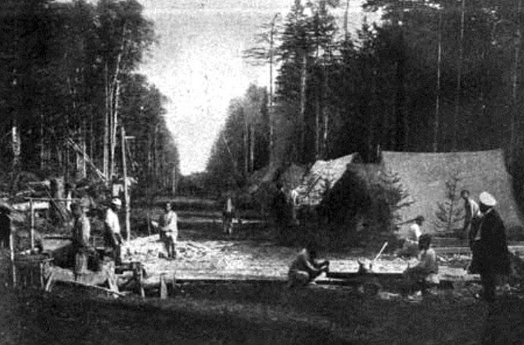 Сахалин. Лагерь каторжных в тайге