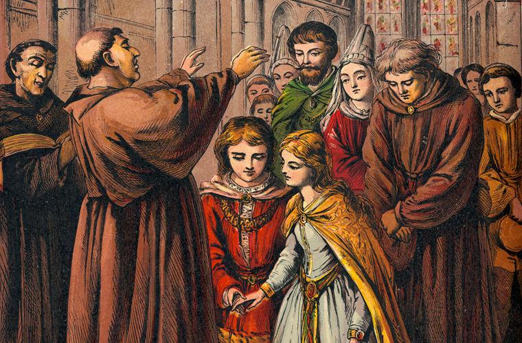 Венчание юных новобрачных в Средние века